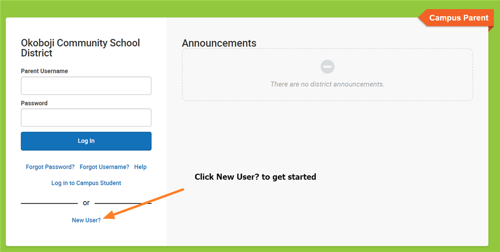 Parent Portal Setup Step 1