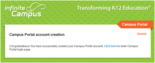 Campus Portal Confirmation